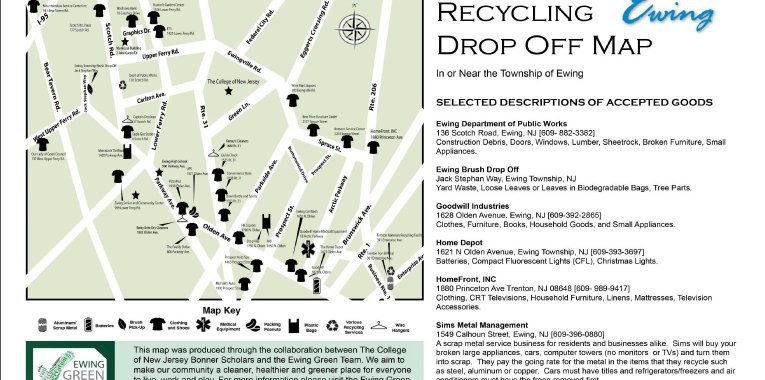 EGT Produces New Ewing Recycling Map – Sustainable Ewing ... on caldwell map, bradley beach map, nelson map, boonton township map, campbell map, paterson map, plainfield map, clifton map, new brunswick map, miller map, long branch map, marshall map, old bridge map, estell manor map, beachwood map, cherry hill map, north wildwood map, summit map, milford map, rahway map,